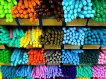 Multi color pen in shelf, stationary, craft. And art Royalty Free Stock Image