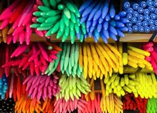 Multi color pen in shelf, stationary, craft. And art Stock Images