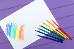 Multi-color pencil with blank white paper Royalty Free Stock Photography