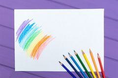 Multi-color pencil with blank white paper Royalty Free Stock Photo