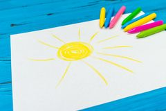 Multi-color pencil with blank white paper Royalty Free Stock Image