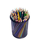 Multi color pencils. In can on isolated white Stock Image