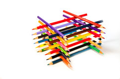Multi color pencils. Make rows one on another Royalty Free Stock Photo