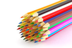 Multi color pencils. Over white. Shallow DOF Royalty Free Stock Photos