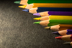 Multi color pencils. In low key, selective focus Royalty Free Stock Photography