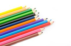 Multi Color pencils on white background. Stock Photography