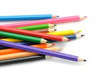 Multi Color pencils on white background. Royalty Free Stock Image