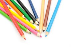 Multi Color pencils on white background. Multi Color pencils isolated on white background Royalty Free Stock Images