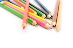 Multi Color pencils on white background. Stock Photos
