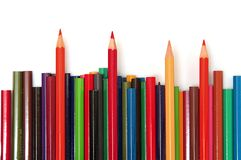 Multi color pencils. On white background, isolated Stock Photos