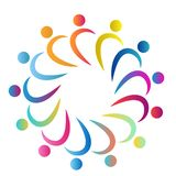 People team work together union colorful people healthy people circle symbol work together nine people logo royalty free illustration