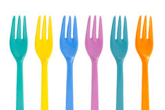 Multi Color plastic forks isolated on white background, file inc Royalty Free Stock Images