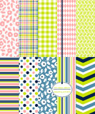 Seamless Background Patterns - Multi-Color Prints. Seamless Background Patterns - 10 Multi-Color Prints and Coordinating Patterns Royalty Free Stock Photography