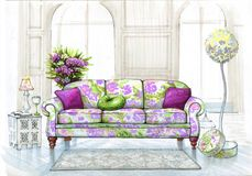Interior in serene and lime color. Multi-color sofa with a violence pillows. casual lamp and carpet on the floor vector illustration