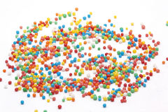 Multi color Sprinkles on white background Stock Photo