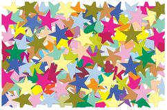 Multi color of star put overlap to pattern. colorful of geometry shape overlay to texture. Multi color of star put overlap to pattern. colorful of geometry vector illustration