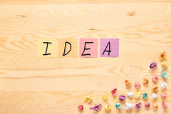 Multi color stick note bulb idea concept Stock Images