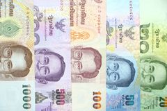 Multi color of Thai bank note order by value of banknote for background. royalty free stock images
