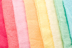 Multi color towels. Background and texture of multi color towels lined diagonally Royalty Free Stock Photo