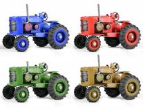 Multi Color Toy Tractors  on White Stock Photography
