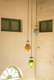 Multi color vintage hanging light lamp Stock Photo