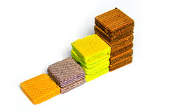 Multi color wafer show layer stair ,graph on white background Royalty Free Stock Images