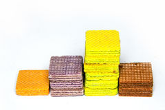 Multi color wafer show layer stair ,graph on white background Stock Image