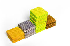 Multi color wafer show layer stair ,graph on white background Stock Photo