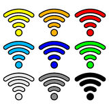 Multi color wifi wireless hotspot internet signal Royalty Free Stock Image
