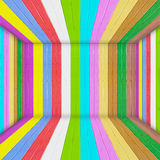 Multi Color wooden room. Multi vivid Color wooden wall Stock Photography