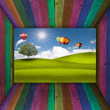 Multi Color wooden room open to beatiful view Stock Photos