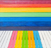 Multi Color wooden wall Stock Images