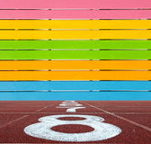 Multi Color wooden wall with running lane floor Royalty Free Stock Photos