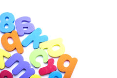 Multi-colored alphabet frame Stock Images