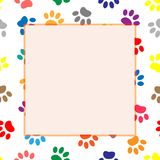 Multi-colored animal paw prints border frame. Colorful dog or cat paw prints frame with empty space for your image or text Stock Images