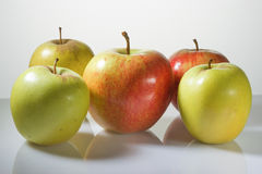 Multi-colored apples on a white background Stock Photo