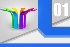 Multi colored arrow. In color background Royalty Free Stock Image