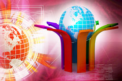 Multi colored arrow with globe. In color background Stock Images