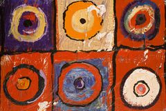 Art abstract. Multi colored art close up texture abstract, circles and squares Royalty Free Stock Images