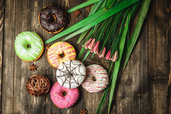 Multi-colored assortment of donuts. With sprinkles and frosting on dark wooden background with flowers Royalty Free Stock Image