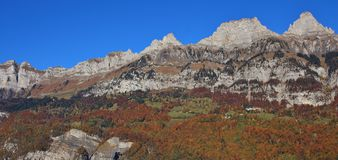 Walenstadt Dorf and mountains of the Churfirsten range. Multi co Royalty Free Stock Photo