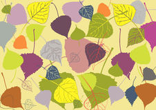 Multi-colored autumn leaves on a yellow background, with varying Stock Photo