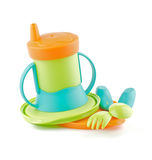 Multi Colored Baby Bottle and Baby utensil Royalty Free Stock Photos