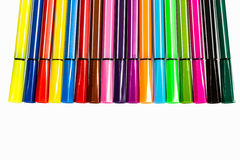 Multi-colored ball pens background Stock Photos