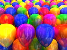Multi-colored balloons 3D Royalty Free Stock Photos