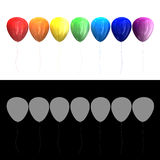 Multi-colored balloons 3D. Multi-colored balloons on a white background 3D Royalty Free Stock Photo