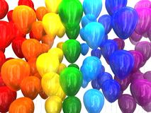 Multi-colored balloons 3D. Multi-colored balloons on a white background 3D Stock Photos
