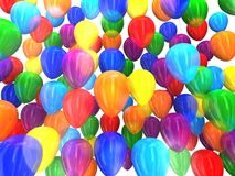 Multi-colored balloons 3D. Multi-colored balloons on a white background 3D Stock Images