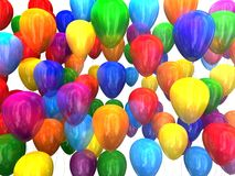 Multi-colored balloons 3D. Multi-colored balloons on a white background 3D Royalty Free Stock Photos