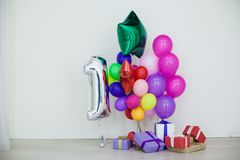 Multi-colored balloons and gifts for the holiday. 1 Stock Photo